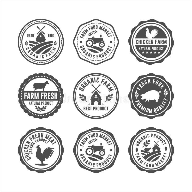 Farm Fresh Znaczniki Znaczniki Logos Wektory projektowe ilustracja wektor