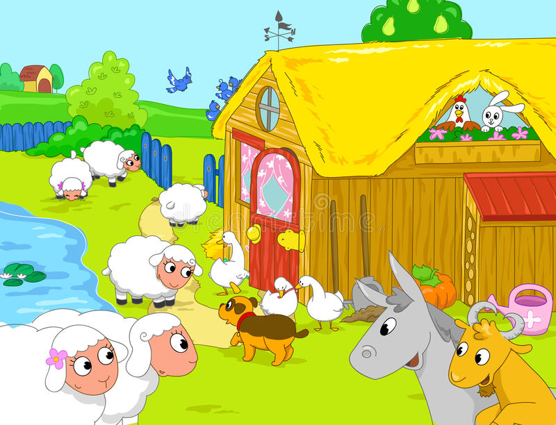 Farm and funny animals near lake. Cartoon illustra. Woody farm with cute animals: ducks, dog, hen, sheeps, goat, donkey, bunny and birds. Cartoon illustration stock illustration
