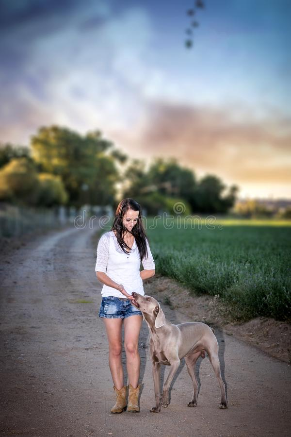 Farm girl and Weimaraner dog on a dirt road. With a dramatic sky royalty free stock image