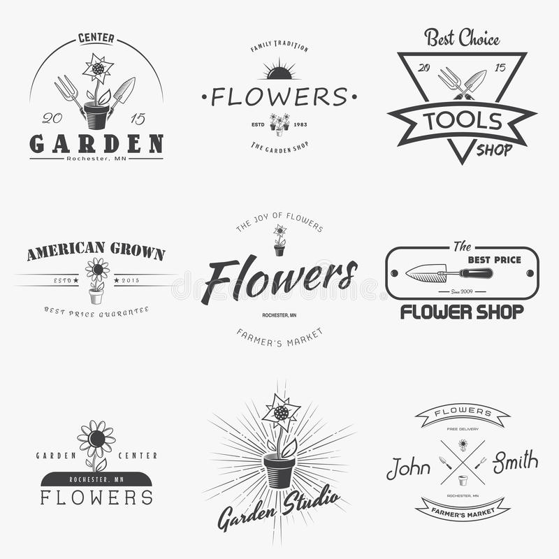 A farm growing flowers. Gardening Tools Shop. Garden Center set of vintage labels. Monochrome typographic labels, stickers, logos. And badges. Flat vector royalty free illustration