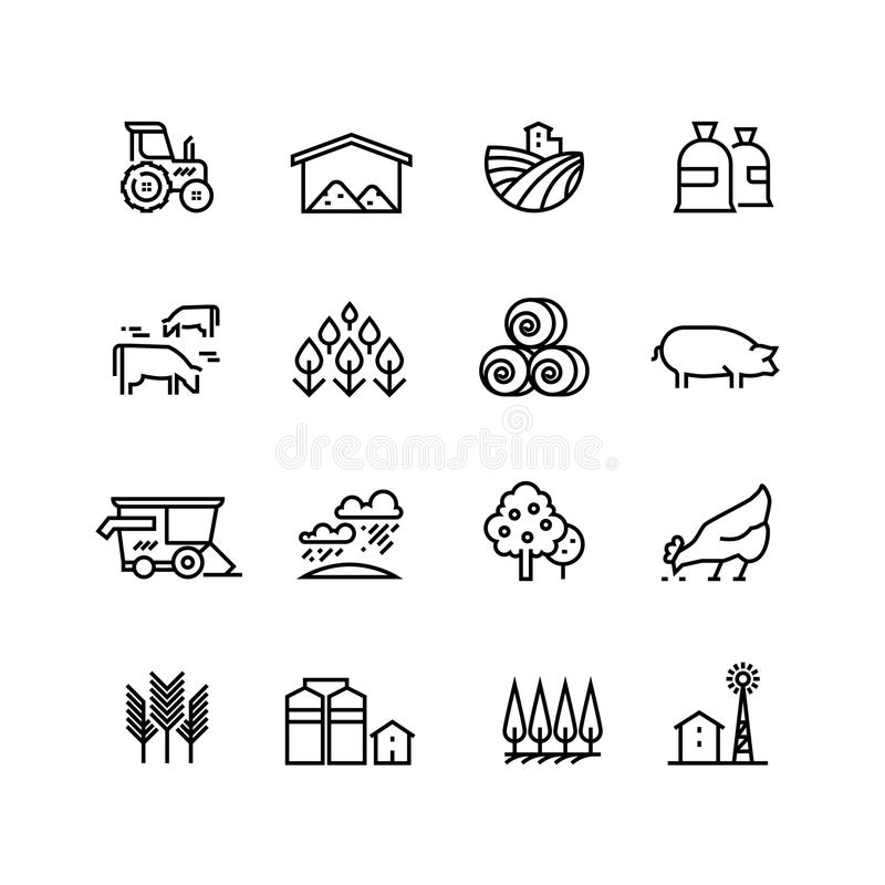 Farm harvest linear vector icons. Agronomy and farming pictograms. Agricultural symbols. Farm field, agricultural equipment, tractor transport illustration royalty free illustration