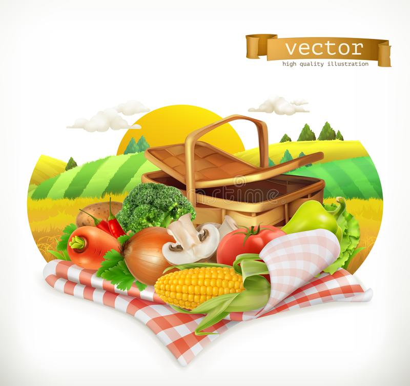 Corn, tomato, onions, pepper, carrot, lettuce and parsley. Isolated 3d vector icon royalty free illustration