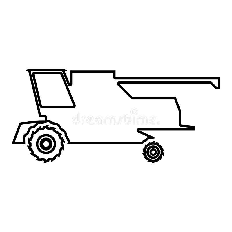 Farm harvester for work on field Combine icon black color illustration outline royalty free illustration