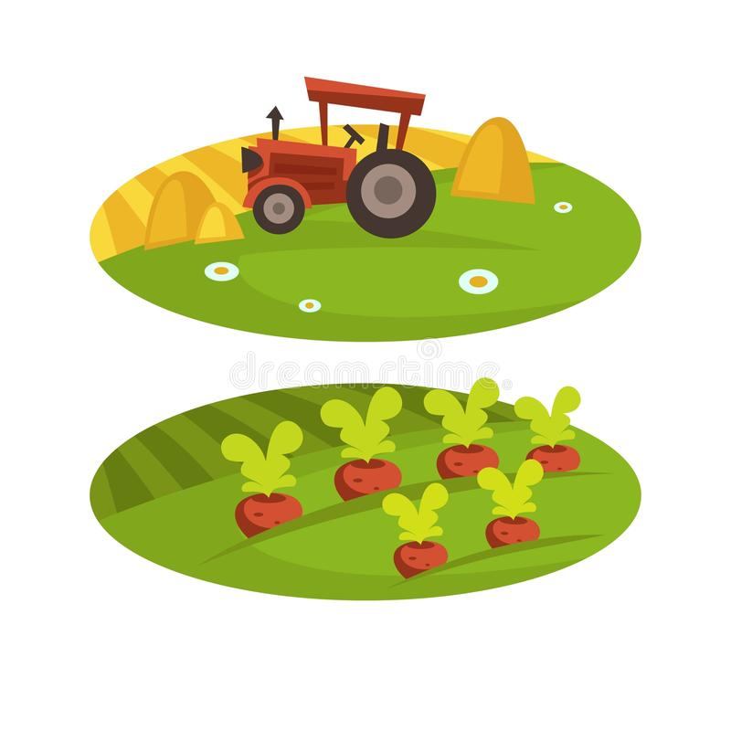 Farm agriculture harvest field and tractor with wheat hay vector flat cartoon farmland stock illustration