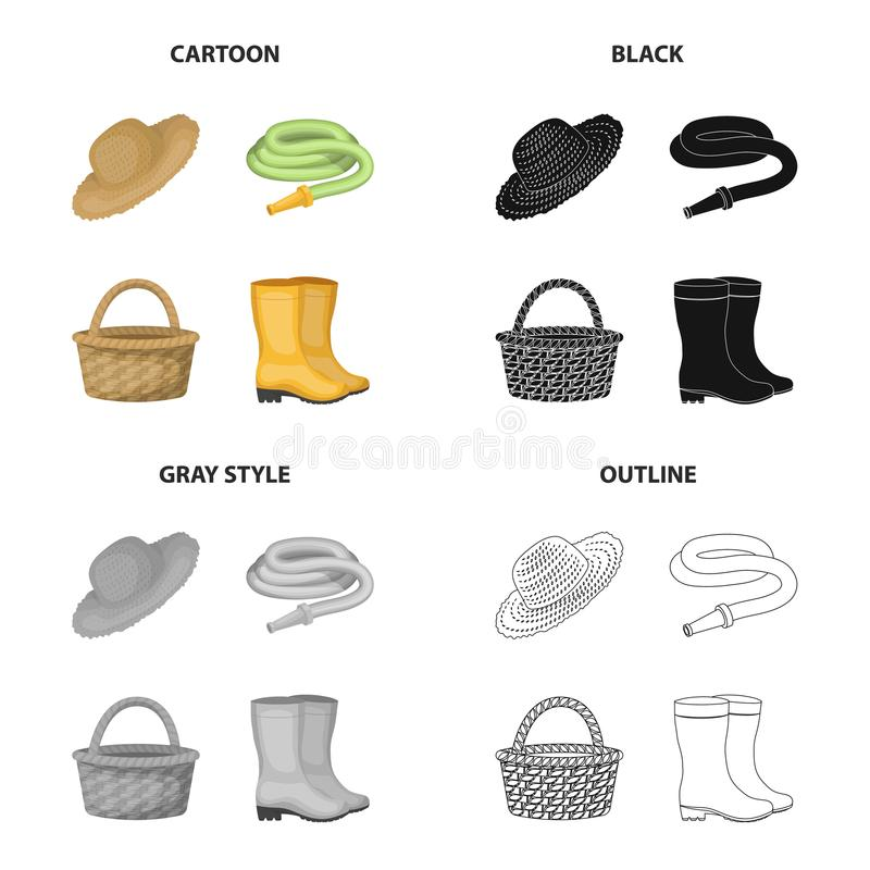 Farm hat, watering hose, basket, rubber boots. Farm and vegetable garden set collection icons in cartoon black royalty free illustration