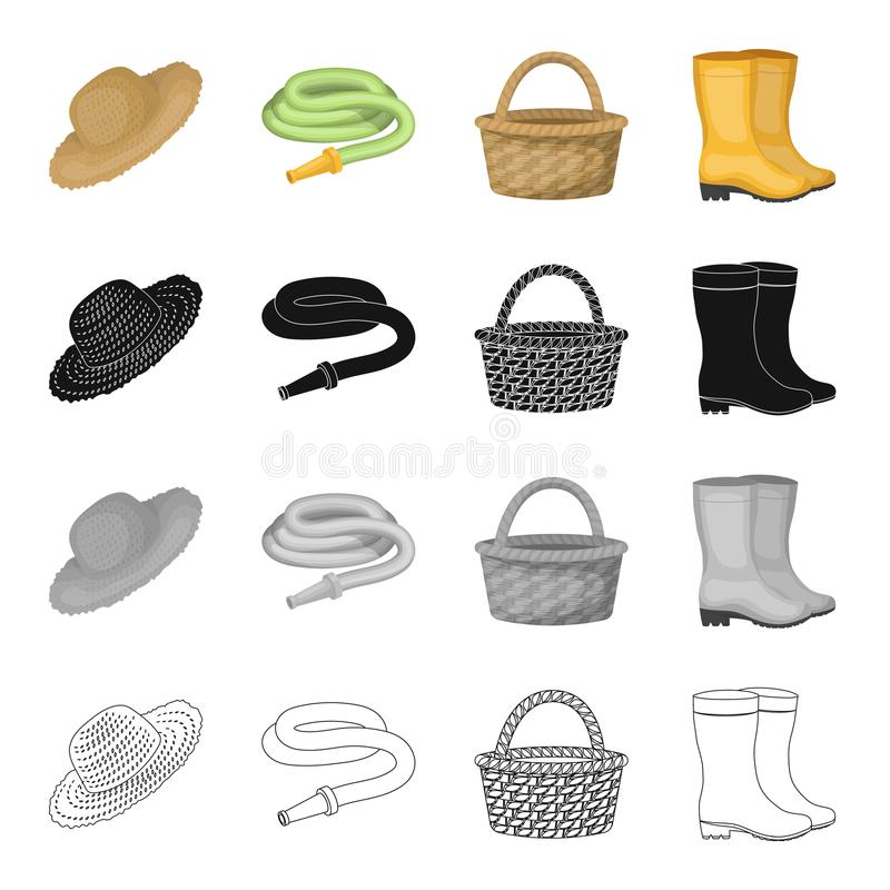Farm hat, watering hose, basket, rubber boots. Farm and vegetable garden set collection icons in cartoon black stock illustration