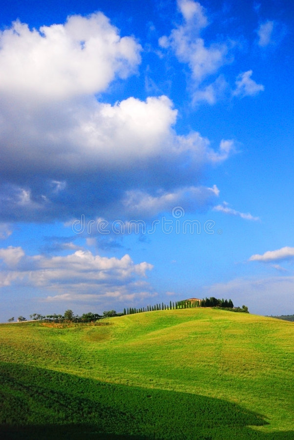 Farm & hills royalty free stock photo