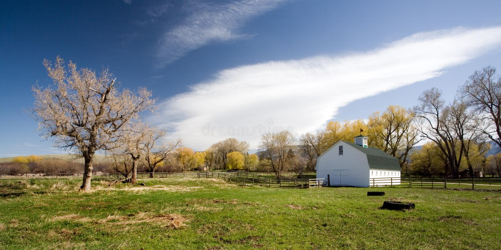 Farm house. On a spring day in rural Wyoming, 2:1 aspect ratio stock images