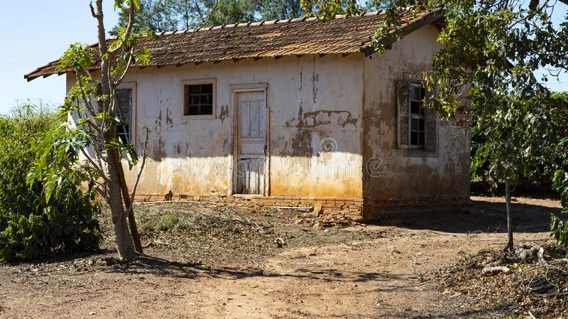 Farm house, coffee plantation tree and simple farm life. Brazil South America stock photography