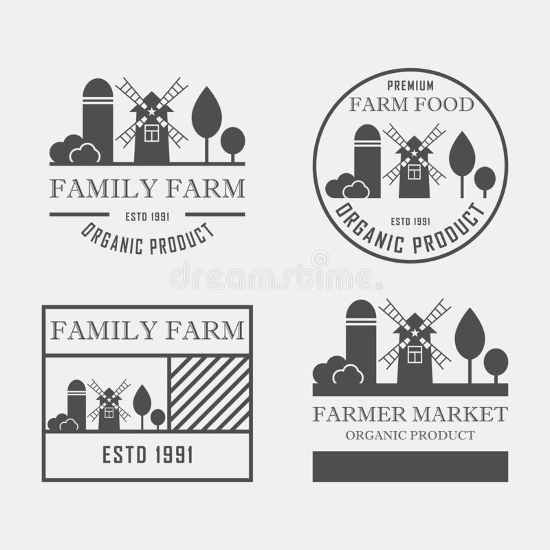 Farm House concept logo set. Template with farm landscape. Label for ,organic and natural farm products. Dark logotype stock illustration