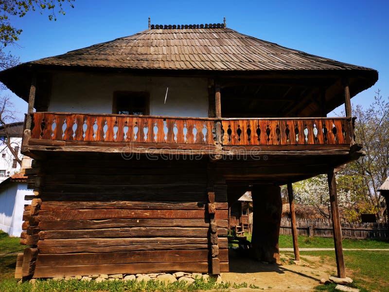 Farm house - inner yard. Old wooden house from Oltenia, Romania stock photos