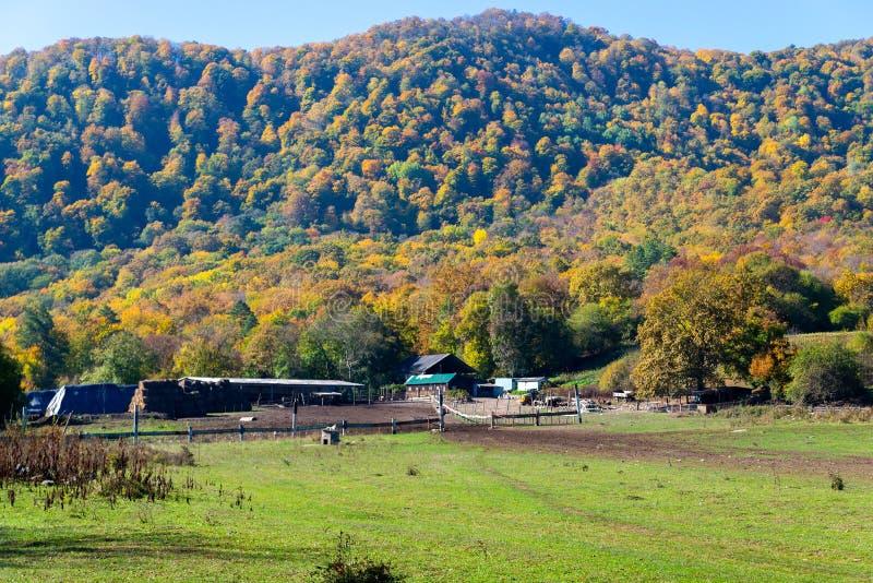 Farm house near mountain under blue sky royalty free stock images