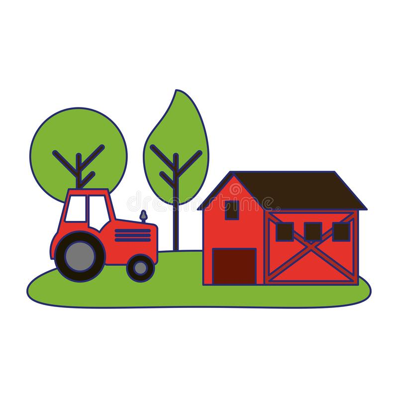Farm house and tractor in nature. Vector illustration graphic design royalty free illustration