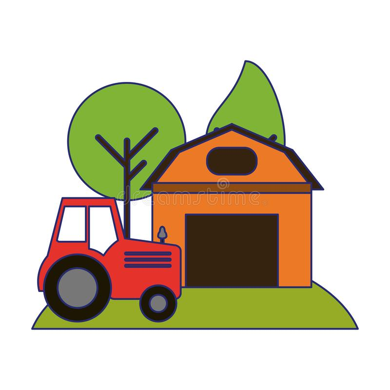 Farm house and tractor in nature. Vector illustration graphic design stock illustration