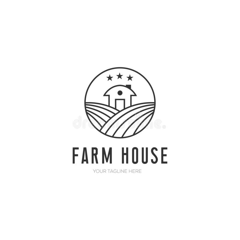 Farm house vector illustration , minimalist design with line art style royalty free illustration