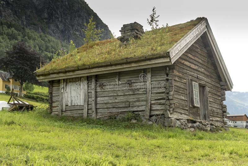 Farm hut on the slopes of the mountains Olden Norway. Olden is a village and urban area in the municipality of Stryn in Sogn og Fjordane county, Norway. Olden stock image