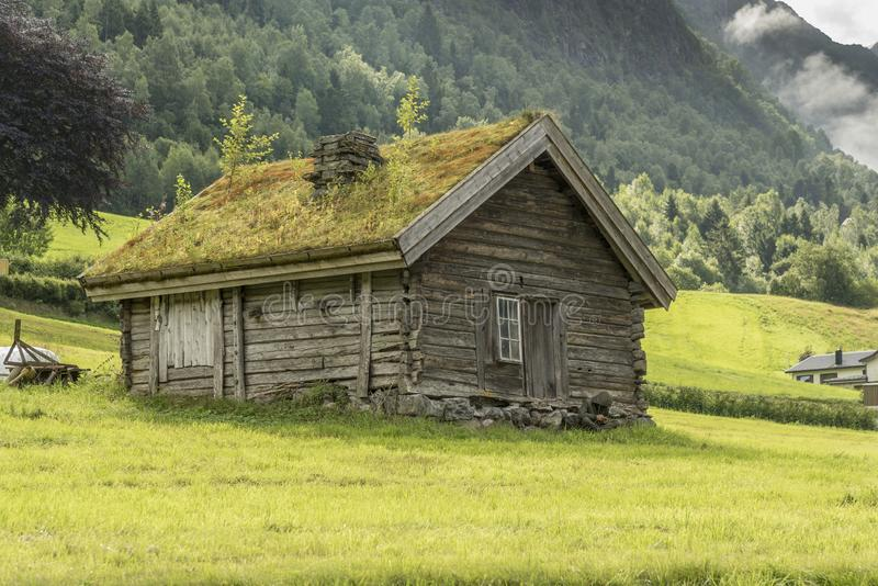 Farm hut on the slopes of the mountains Olden Norway. The grass is planted on the roof to provide insulation during the harsh winters often experienced in stock photo