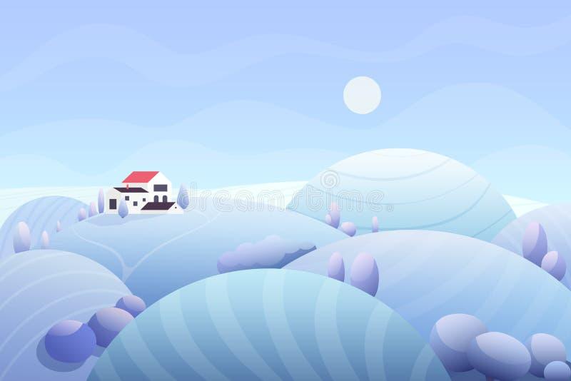 Farm i field zimowy wektor płaski ilustracji
