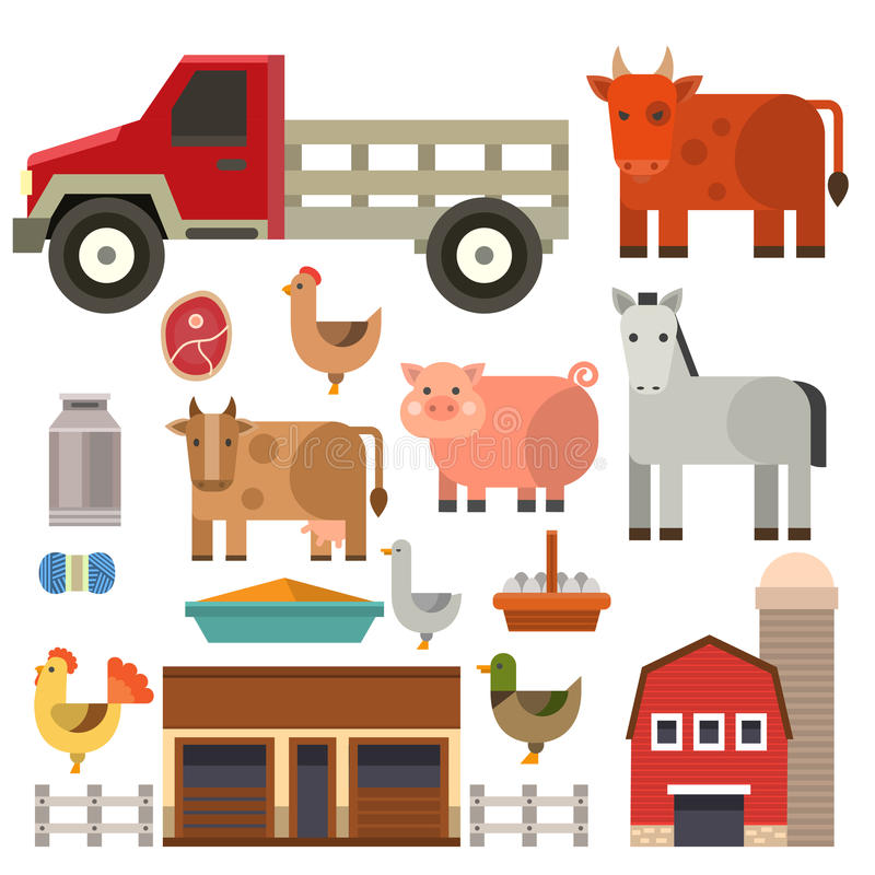 Farm icon vector illustration nature food harvesting grain agriculture different animals characters. Modern flat graphic growth cultivated design stock illustration