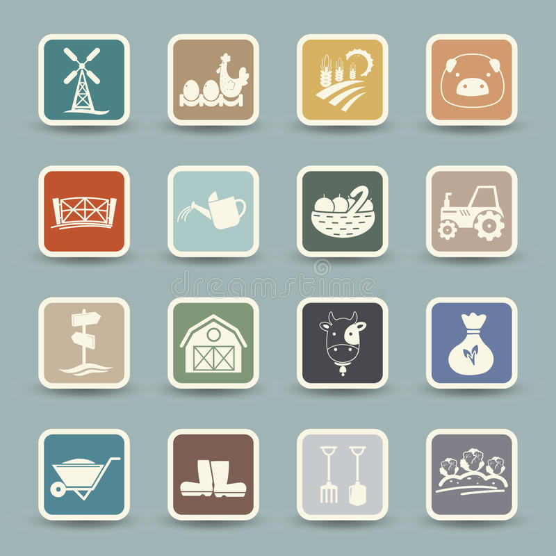 Farm Icons. Illustration of isolated farm Icons vector illustration