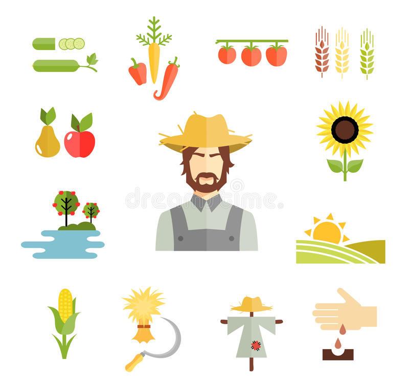 Farm icons for cultivating crops royalty free illustration