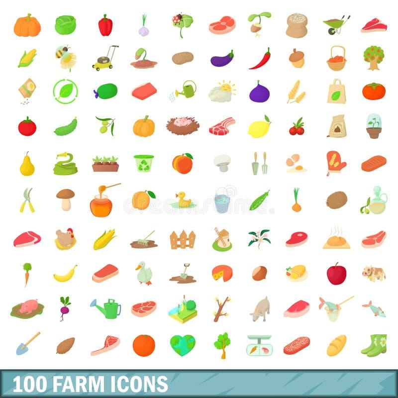 100 farm icons set, cartoon style royalty free illustration