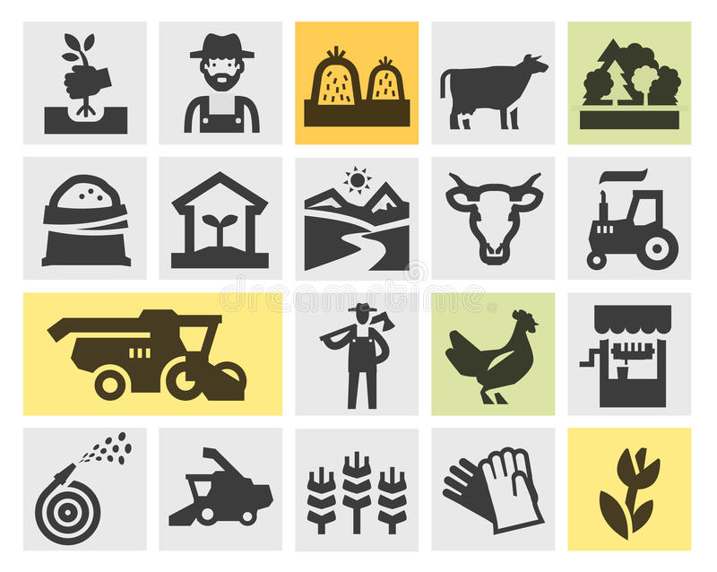 Farm icons set. signs and symbols stock illustration