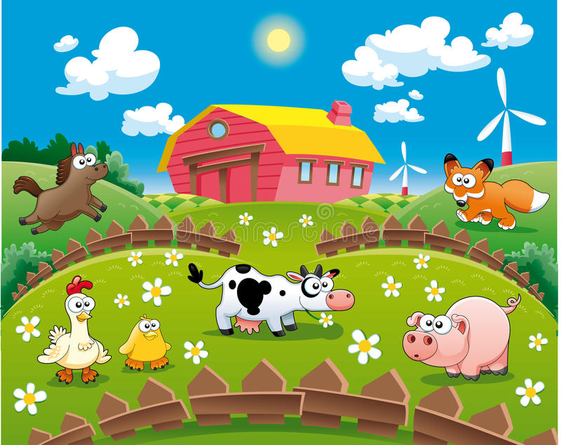 Farm illustration. Funny cartoon and scene royalty free illustration