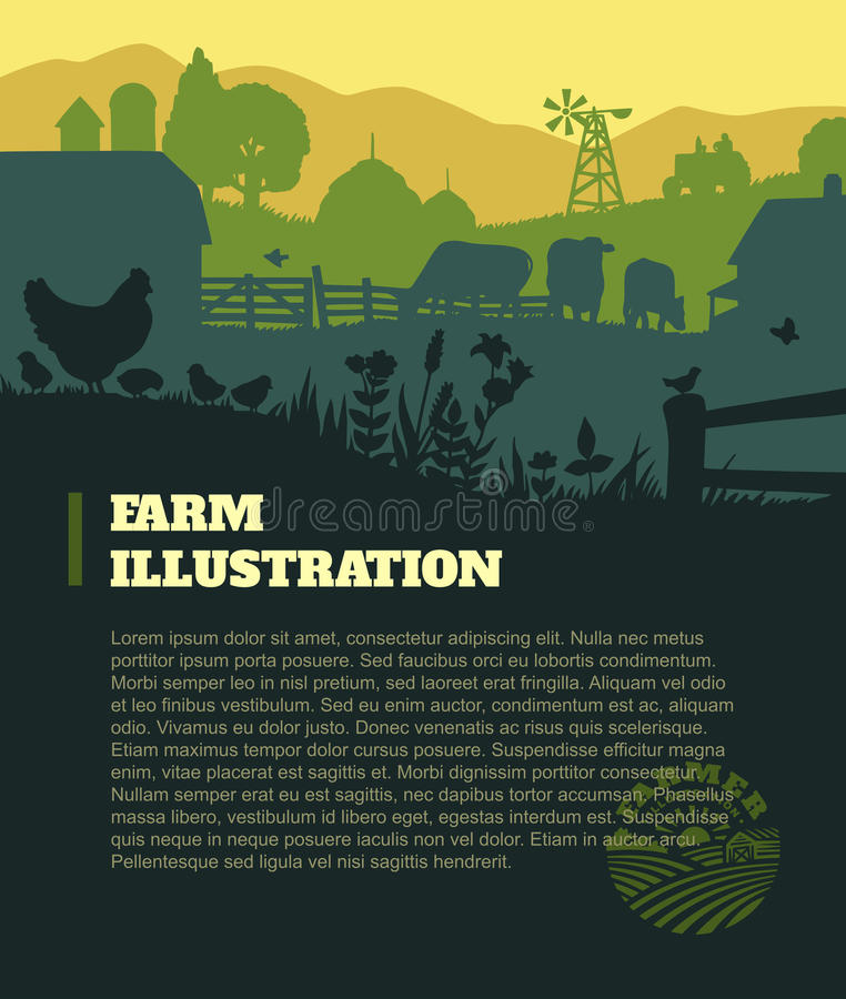 Farm illustration background, colored silhouettes elements, flat vector illustration