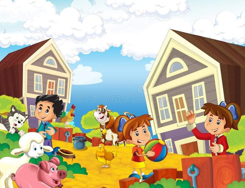 The farm illustration for the kids. Colorful farm illustration with animals and kids playing together royalty free illustration