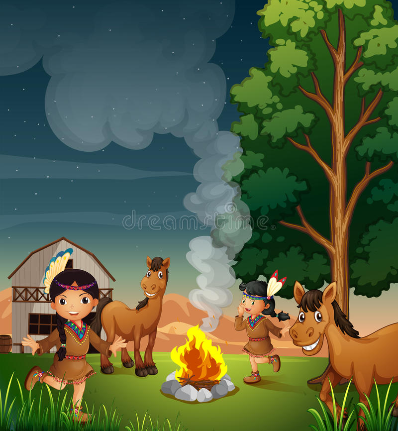 A farm with Indian girls royalty free illustration