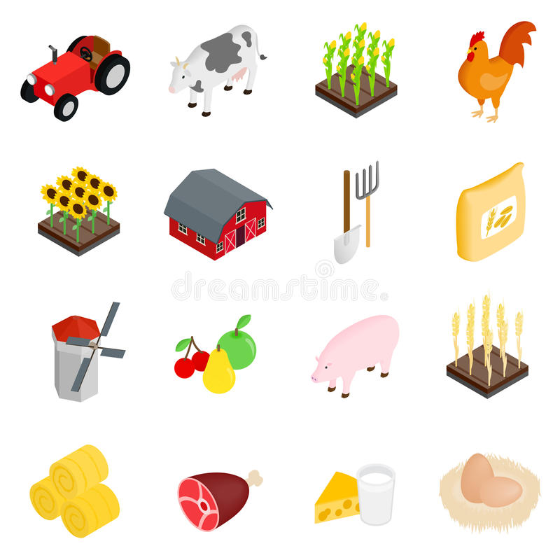 Farm isometric 3d icons set vector illustration