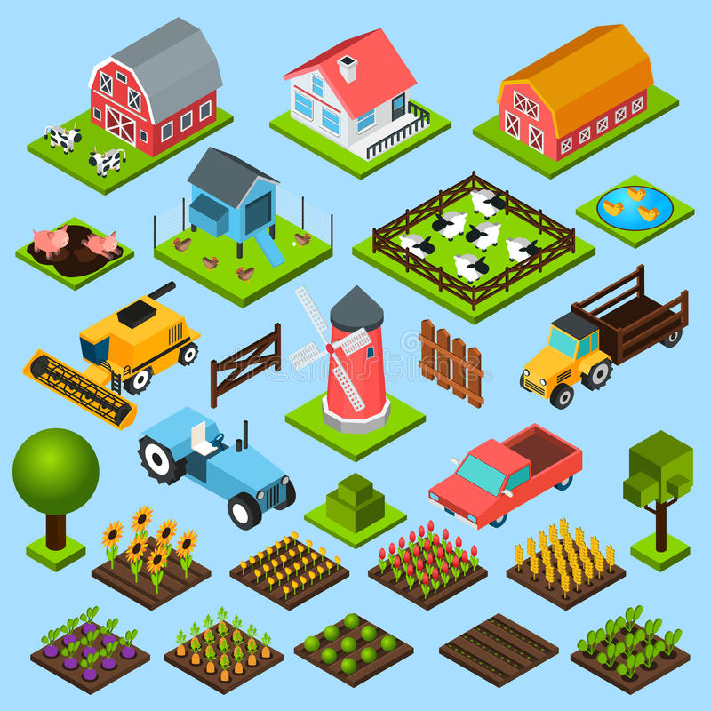 Farm isometric icons set stock illustration