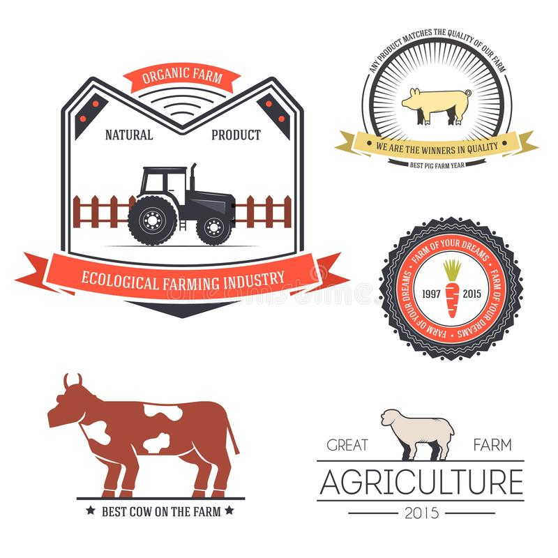Farm label template of emblem element for your product or design, web and mobile applications with text. Vector illustration with. Thin lines isolated icons on royalty free illustration