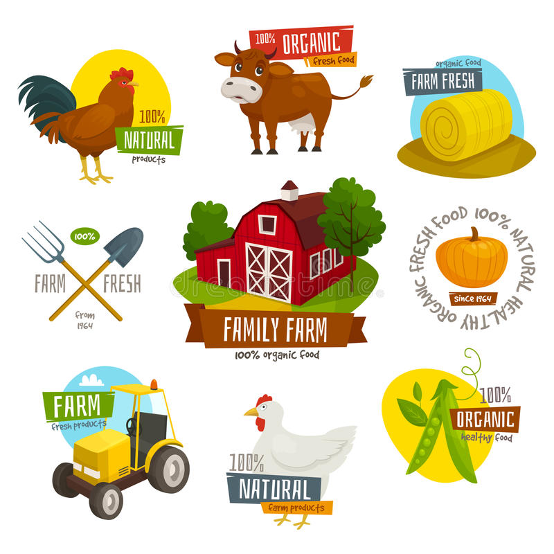 Farm labels set, cartoon vector illustration, farming emblems with tractor chick cow tools, organic eco natural fresh food badges. Farm labels set, cartoon royalty free illustration