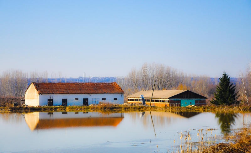 The farm on the lake stock photography