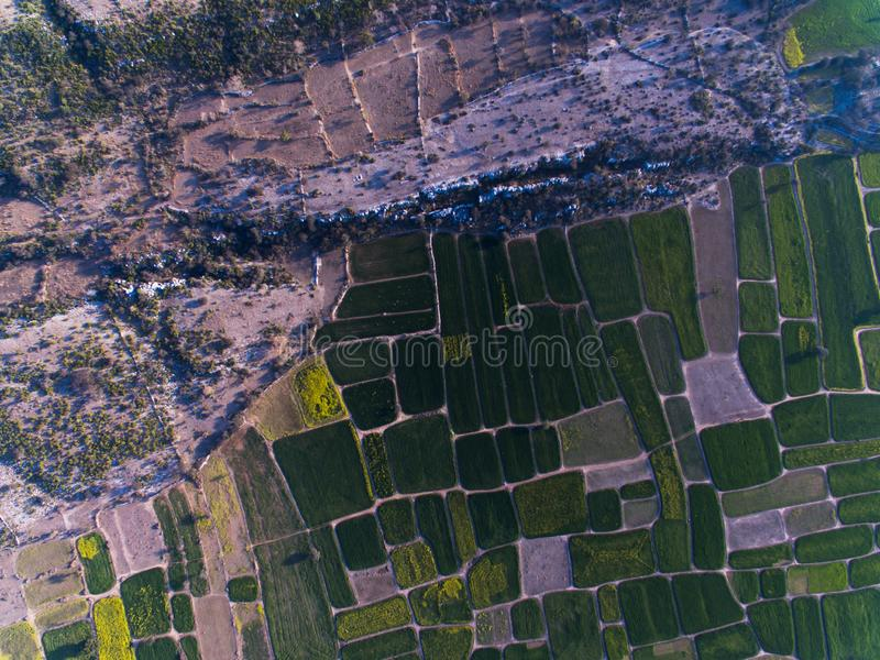 Ariel view of Farm lands and rocky area. Farm lands rocky area plateau pattern agri agriculture eco wheat crop mustard field farmer fields drone ariel view stock images