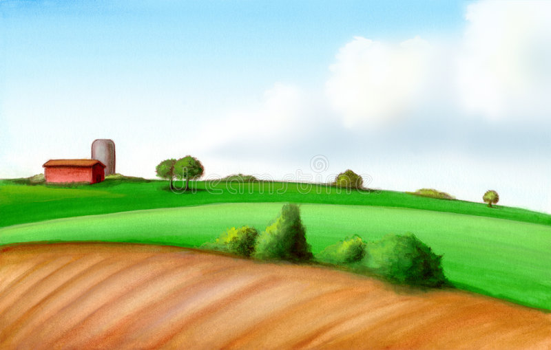 Farm landscape. Picturesque farmland in Italy. Hand painted illustration, digitally enhanced royalty free illustration