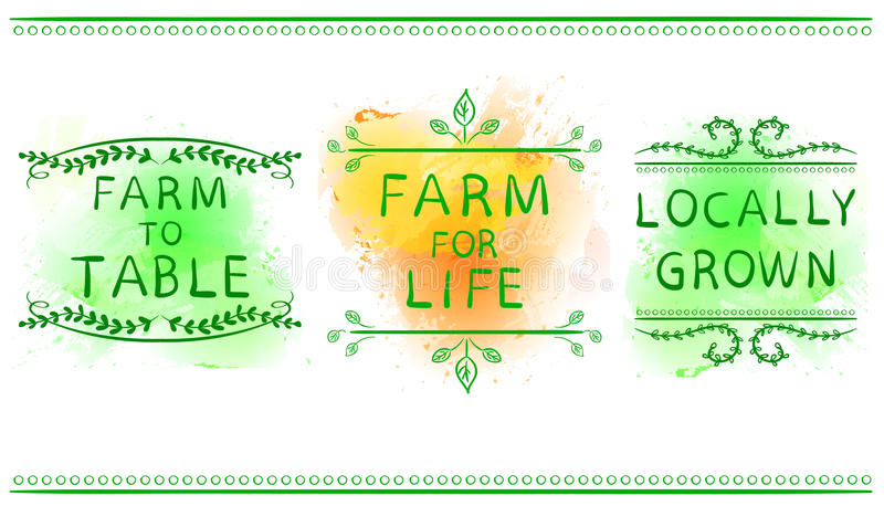 FARM FOR LIFE, FARM TO TABLE, LOCALLY GROWN. Hand drawn typographic element on green paint splash background. Green. FARM FOR LIFE, FARM TO TABLE, LOCALLY GROWN vector illustration