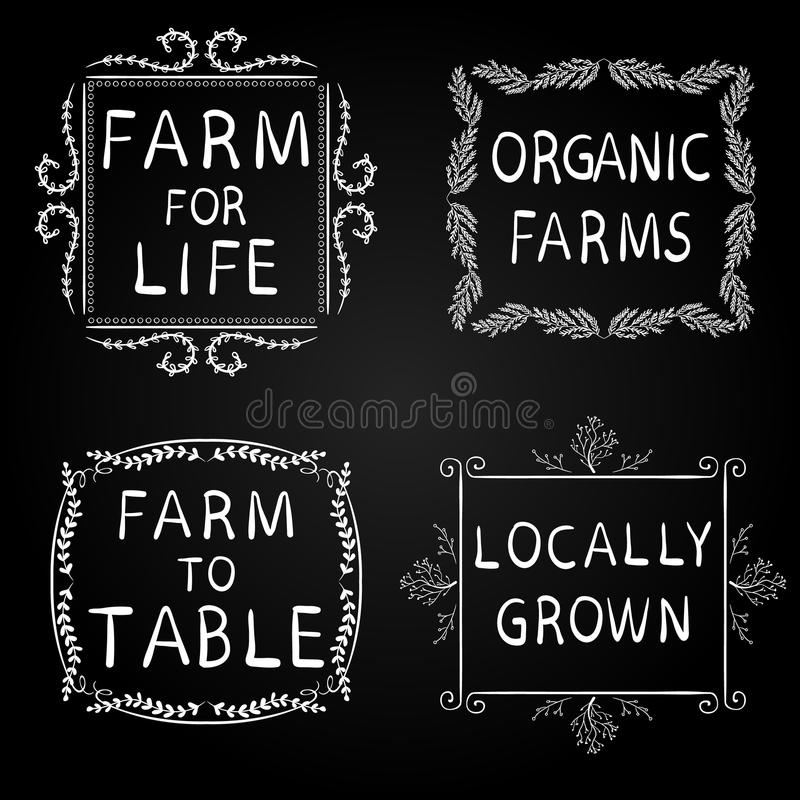 FARM FOR LIFE, ORGANIC FARMS, FARM TO TABLE, LOCALLY GROWN. Hand-drawn typographic elements on blackboard. White frames. Farming icons on black background stock illustration