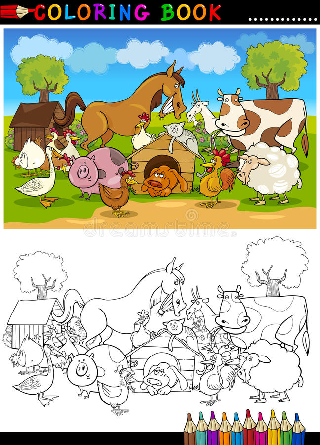 Farm And Livestock Animals For Coloring Stock Photos