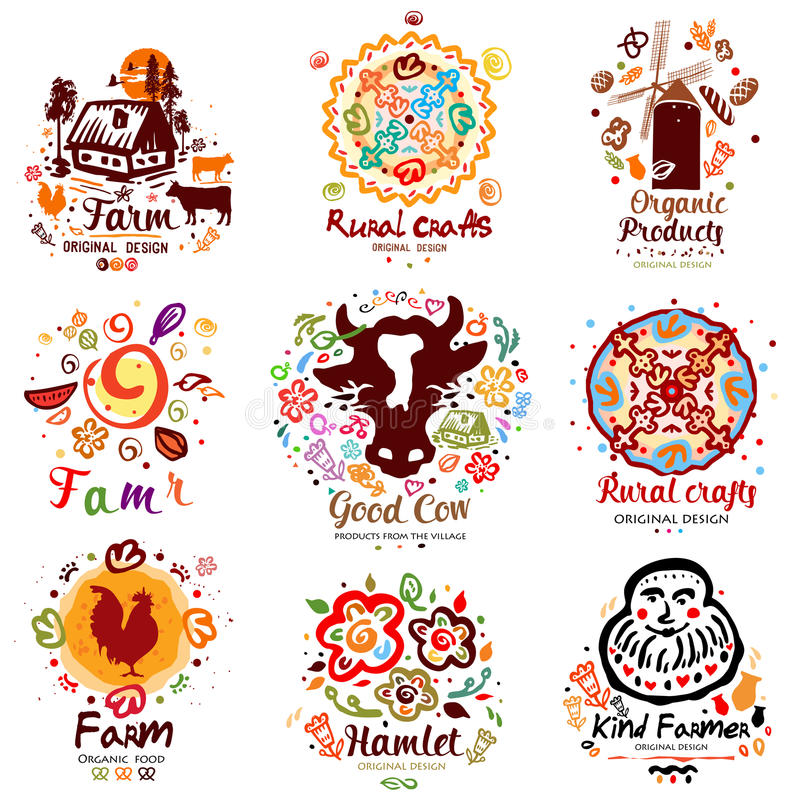 Vegan Elements Set Of Green Labels Logos And Signs In Retro Style: Farm Animal Set Of Symbols Stock Vector. Illustration Of