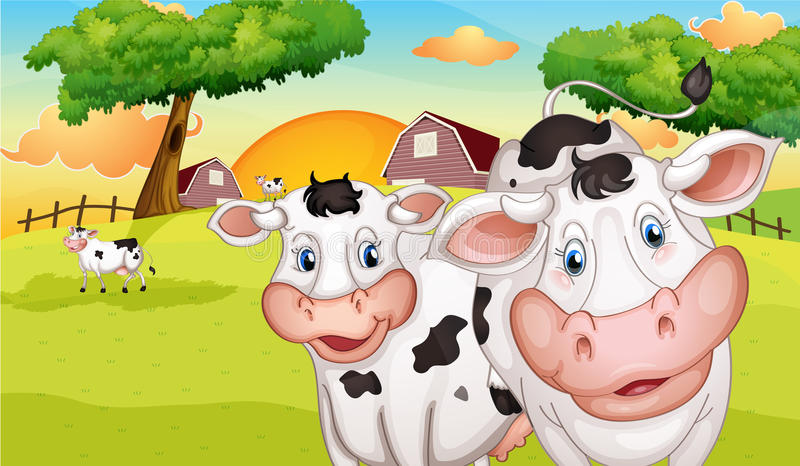A farm with many cows. Illustration of a farm with many cows vector illustration
