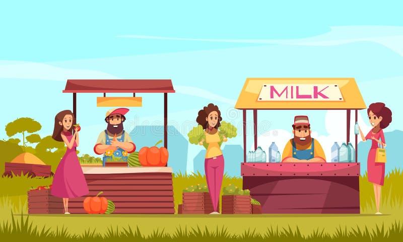 Farm Market Cartoon Illustration stock illustration