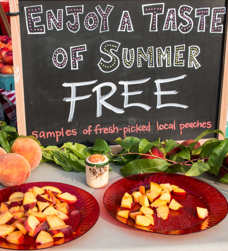 Farm Market Peaches stock image