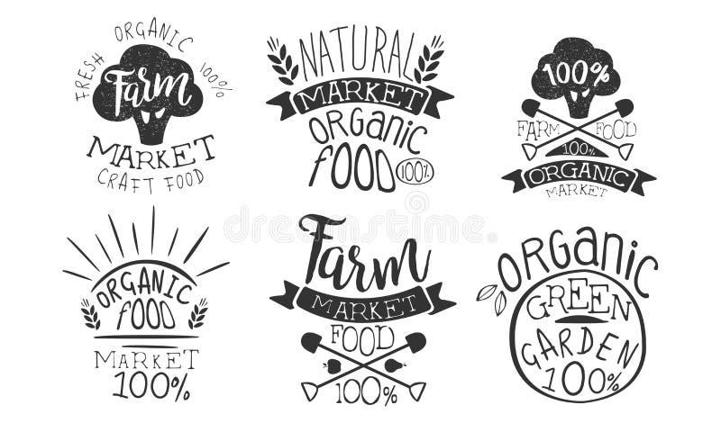 Farm Market Retro Labels Set, Fresh Organic Natural Craft Food, Organic Green Garden Hand Drawn Badges Monochrome Vector vector illustration