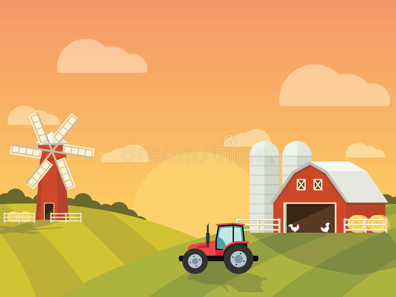 Farm with a mill and tractor in the green hills. Farm with a mill and tractor in the green hills stock illustration