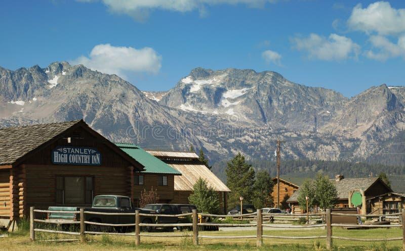 Farm and mountain range stock photo