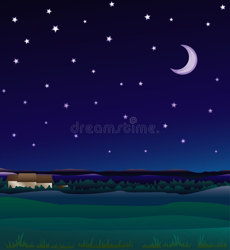 Farm night royalty free illustration