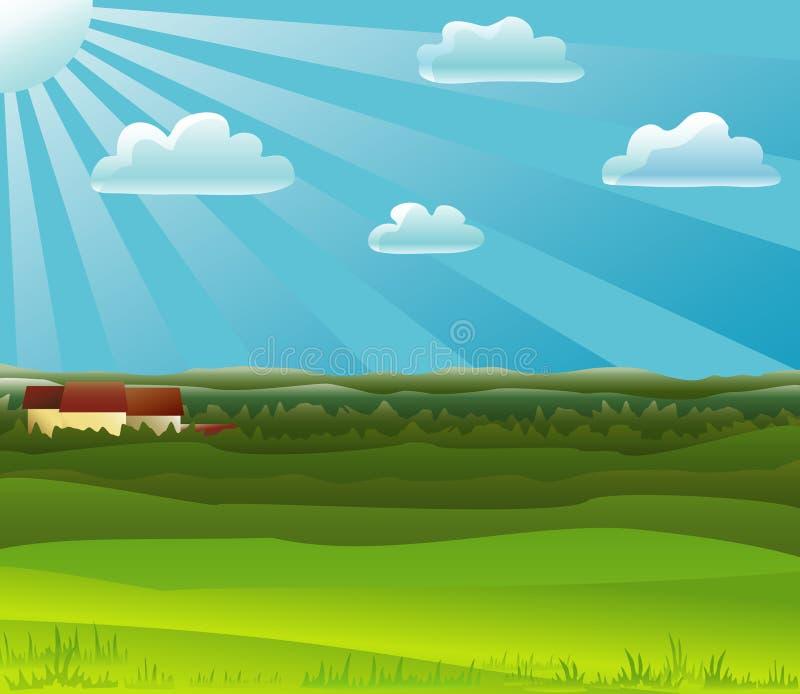 Farm noon. A small farm among fields